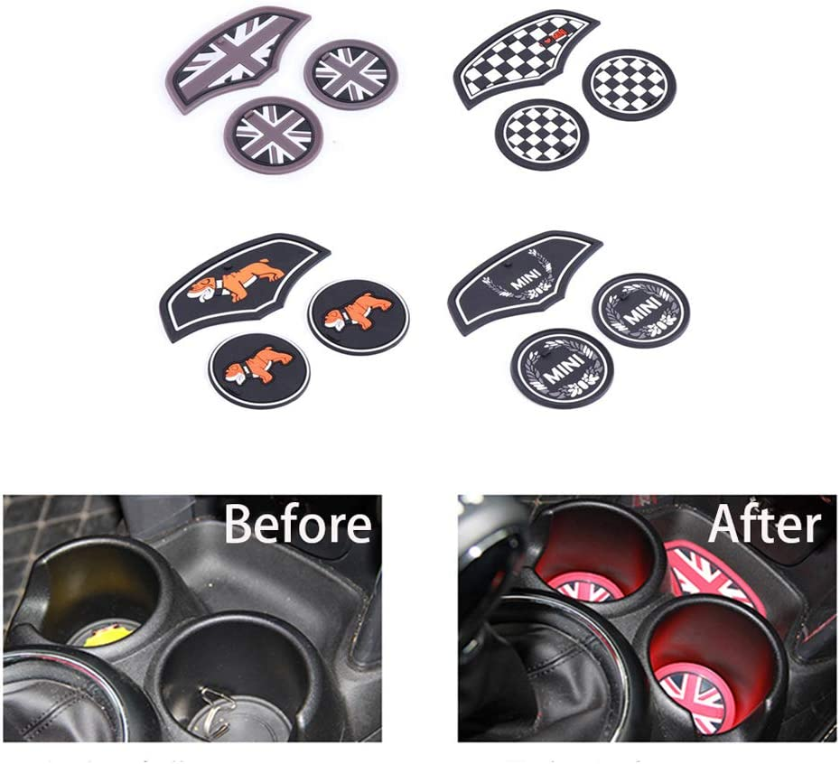 3PCS Union Jack Car Cup Coffee Cushion Storage Groove Coaster Auto Non-slip Mat Pad For F55 F56 Accessories Laurel Flower