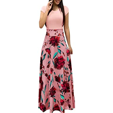 the best attitude 3d18d 9387a Maxi Kleid Damen Blumen Lange Kleid Elegant Boho Kurzarm Maxikleid Casual  High Waist Böhmischen Strandkleider Partykleid Cocktailkleider Sommerkleid
