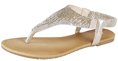 b8161fe99b55f Cambridge Select Women s T-Strap Ombre Crystal Rhinestone Thong Slip-On Flat  Sandal (