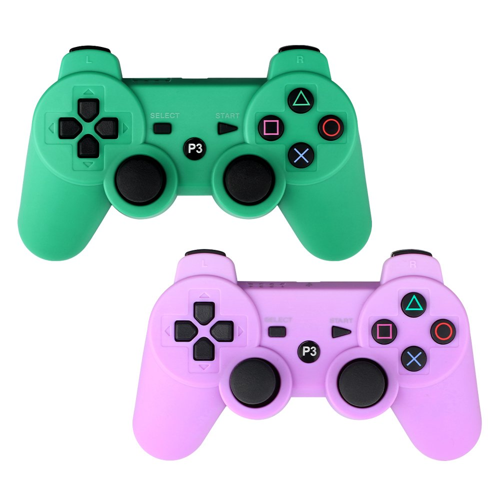 YOUCable PS3 Controller Wireless Playstation 3 Remote Dualshock Bluetooth Gamepad (Green+Purple)