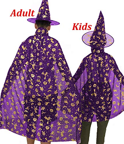 AkiWoo Halloween Costume for Girls Boys Adult Witch