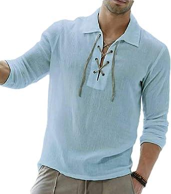 dahuo Camisa Medieval de Renacimiento Vikingo para Hombre, con Cordones, Escocesa Azul Azul XL: Amazon.es: Ropa y accesorios