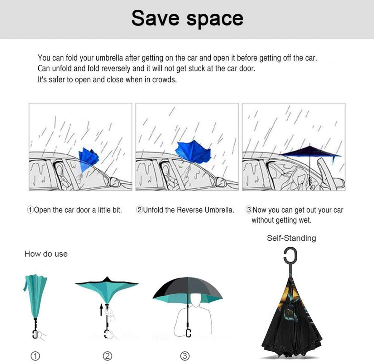 Windproof And Rainproof Double Folding Inverted Umbrella With C-Shaped Handle UV Protection Inverted Folding Umbrellas Wolverine Car Reverse Umbrella