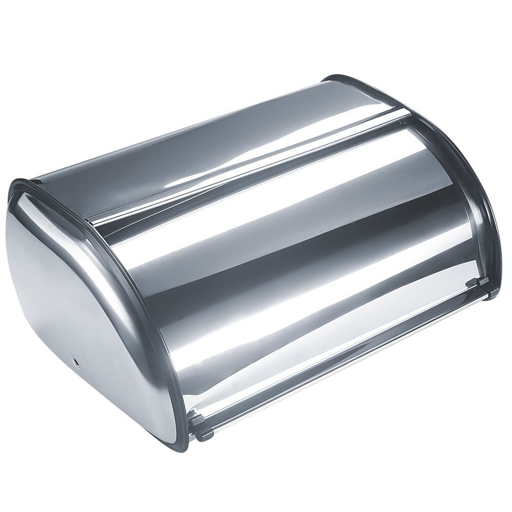 Bekith Brushed Stainless Steel Roll Top Bread Box for kitchen, bread bin, bread storage and bread holder