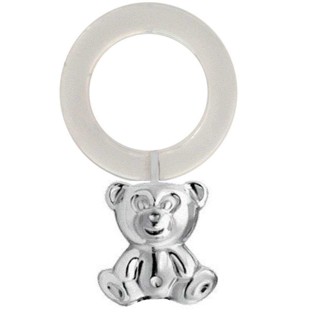 925 Silber Sterling Babyrassel Bär 10 cm. Für Kinder zur Geburt oder Taufe silberkanne
