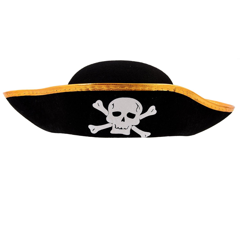 Gorra Sombrero del cubo del pirata patron de craneo negro disfrazado unisex SODIAL R