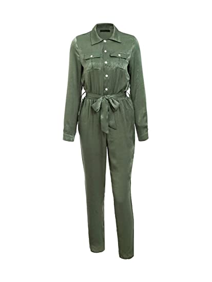 a6d71c610d3 Fashiomo Women s Satin Long Sleeve Jumpsuit Tie Up Button Jumpsuit Romper  Overall Green