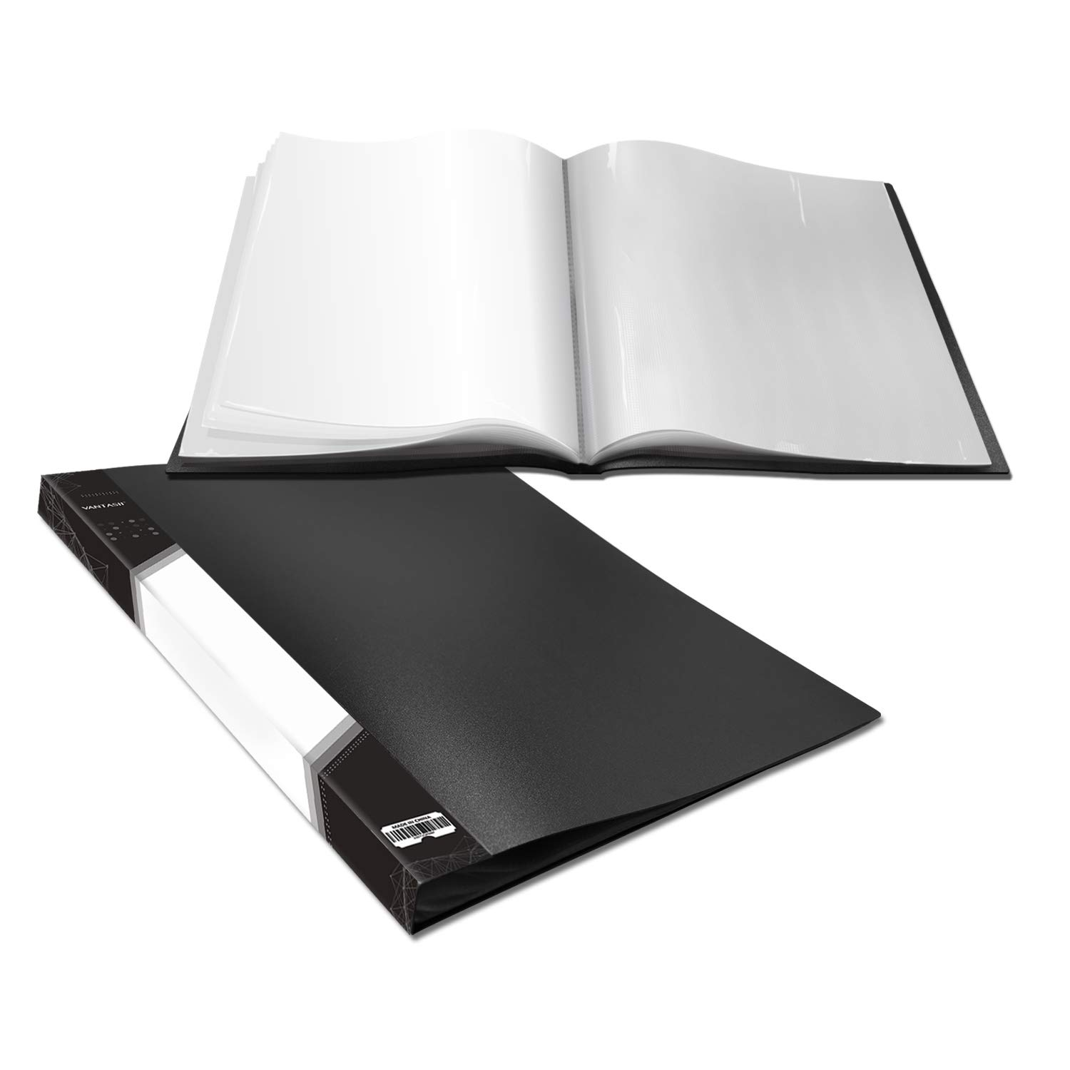 Presentation Book 40 Clear Pockets Sleeves Protectors Art Portfolio Clear Book for Artwork, Report Sheet, Letter (17x13inch) by Vantasii