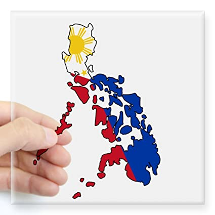 Cafepress philippine flag and map decal sticker square bumper sticker car decal 3quot