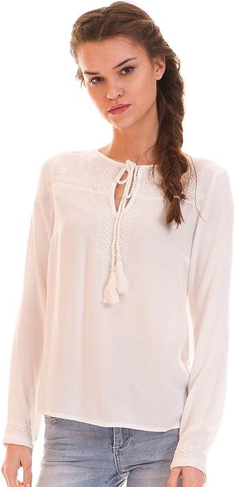 Vila Blusa Blanca ibicenca Clothes (L - Blanco): Amazon.es: Ropa y accesorios