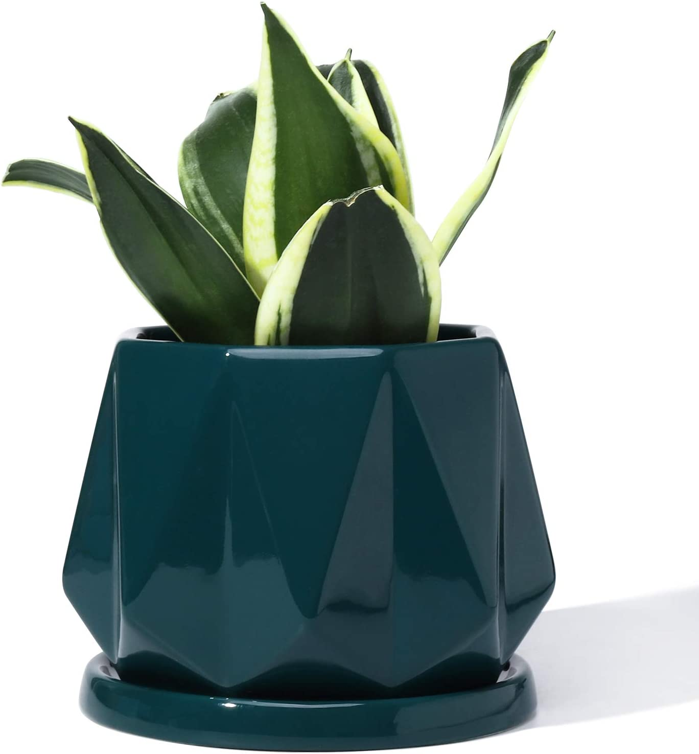 POTEY 052706 Planter Pots Indoor - 4.7 Inch Glazed Ceramic Modern Home Decor Geometric Shaped Planters Indoor Bonsai Container with Drainage Hole&Saucer for Plants Flower Aloe(Plants Not Included)
