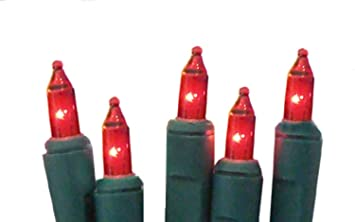 set of 20 battery operated red mini christmas lights green wire