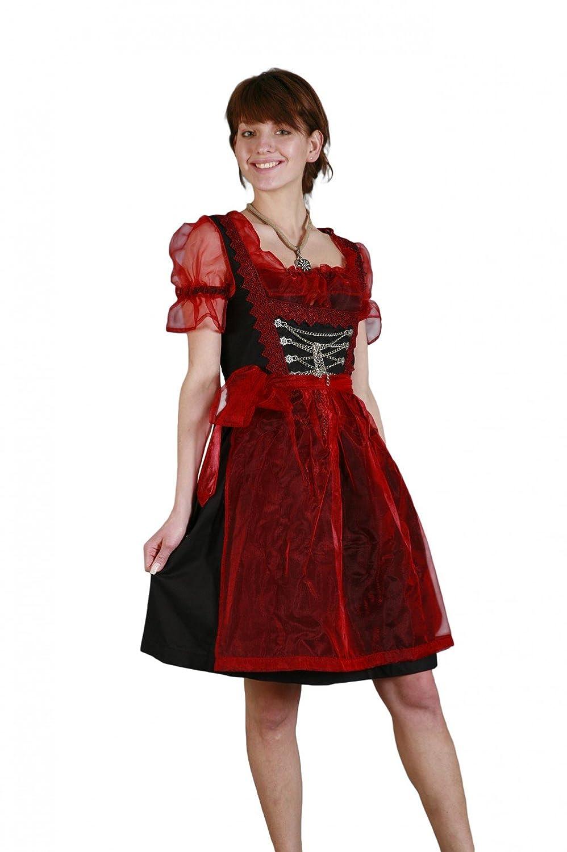 Mini Dirndl 3-tlg. rot schwarz mit roter Dirndlbluse und Schürze Gr. 32-50