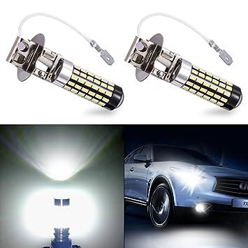 Echoming 2pcs H3 Bombilla LED Coche, 3014 78SMD Lamparas Antiniebla Luminación 900 Lúmenes Luz De