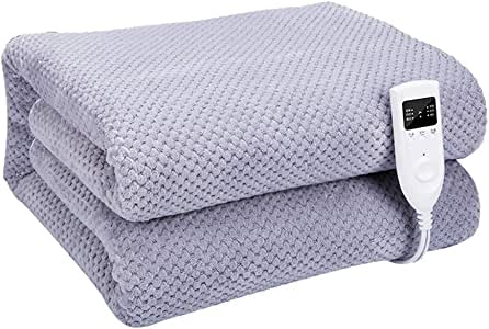Queen Size Electric Throw Heated Blanket, Luxury Velvet, Digital Controllers and Auto-Off Feature,Gray,78.7 * 70.9inches