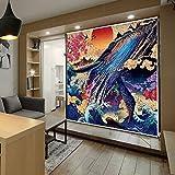 Luckome Noren Door Curtain Doorway Roller Blind Shade Screen - Gauze Painted Sea World Fish