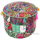 Eyes of India 17 X 12 Small Green Round Pouf Ottoman Cover Floor Seating Bohemian Boho Indian