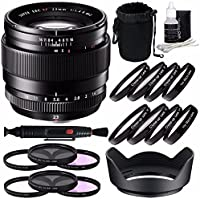 Fujifilm XF 23mm f/1.4 R Lens + 62mm 3 Piece Filter Set (UV, CPL, FL) + 62mm +1 +2 +4 +10 Close-Up Macro Filter Set with Pouch Bundle 7