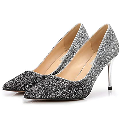 a6375a1adb1e Yra Sparkling Sequin Court shoes for Ladies Womens Wedding Bridal Pumps  Pointed Toe High Heels Stilettos Slip On Evening