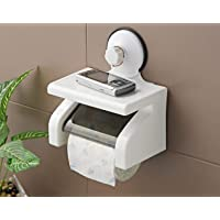 TOUA Suction Cup Toilet Paper Roll Holder Tissue Stand Organizer for Kitchen and Bathroom