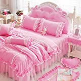 WaaiSo Simple Pure Cotton Soft Comfortable Bedding Collections Bedding Sets Four set for chlidren,student and bedroom,pink,1.5m(suitable suitable 5 inches bed),&789