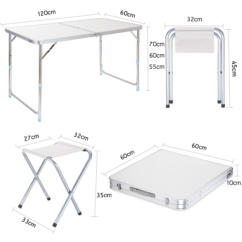 Campingtisch Klapptisch Gartentisch Aluminium 120 cm Weiß Belastung 100 kg