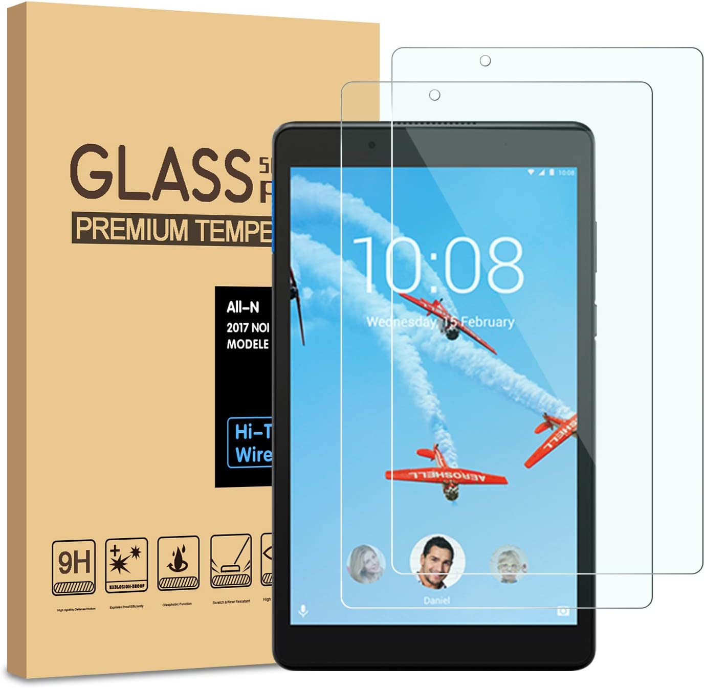 [2-Pack] PULEN Screen Protector for Lenovo Tab E8,HD Easy Installation Anti-Fingerprints 9H Hardness Tempered Glass for Lenovo Tab E 8 Tablet TB-8304F/TB-8304F1(8.0 Inch)