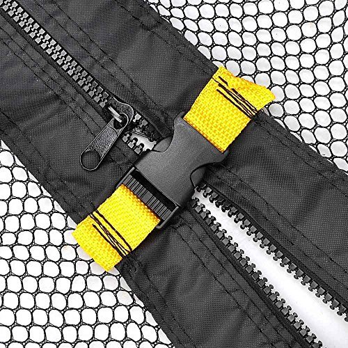 Black 15-foot Trampoline Enclosure Safety Net Replacement 71-in Height Mesh Screen Netting Zipper & Strap Buckle Closure Durable Terylene Fabric Outdoor Play Jumper by Generic