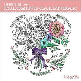 Amazon.com: Coloring Calendar 2018 Wall Calendar (Lily & Val ...