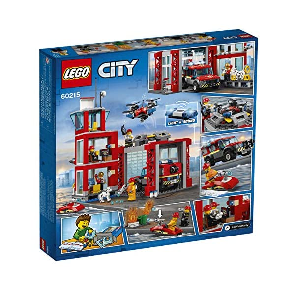 LEGO City Fire Station 60215 Fire Rescue Tower Building Set with Emergency Vehicle Toys Includes Firefighter Minifigures…