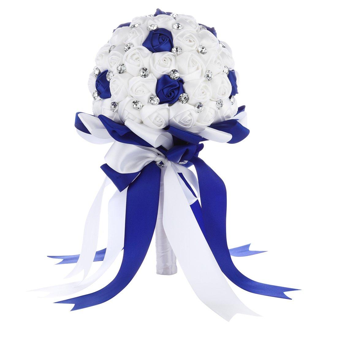 Blue bouquet for wedding amazon faybox crystal satin rose bridal bridesmaid bouquets wedding flower decor royal blue 2 izmirmasajfo