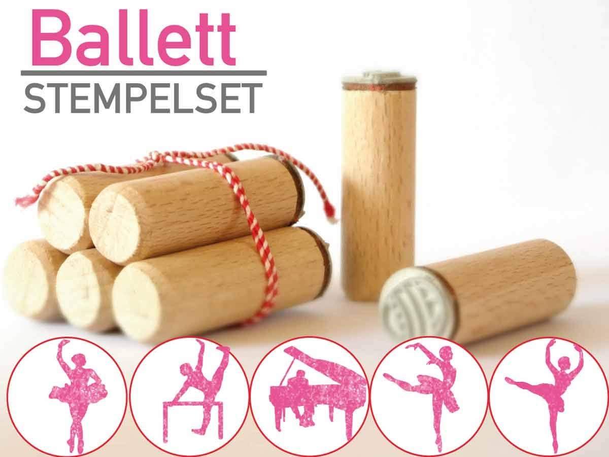 5-teilig aus Buchen-Holz 13gramm Ballett Stempelset Geschenk