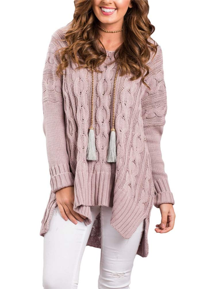 Lealac Women Casual V Neck Loose Fit Knit Sweater Pullover Top Oversized Sweaters For Women L105-SW27681 Pink L