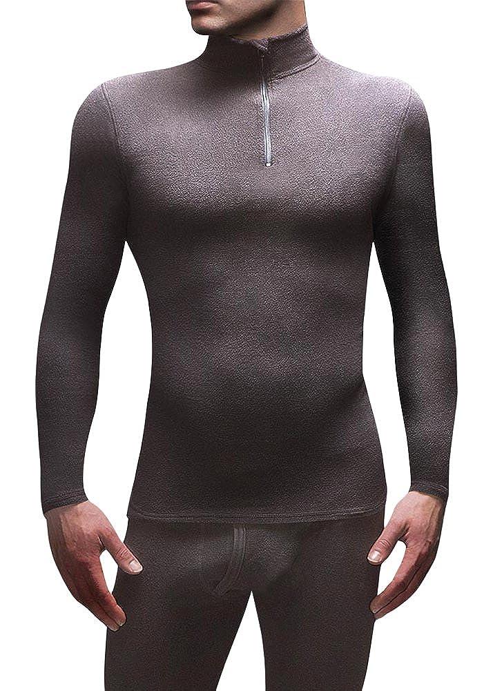 HEAT HOLDERS Men's 0.61 tog Microfleece Thermal Base Layer Long Sleeve Top Black