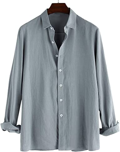 HucodeVan Camisa Hombre Blusa Suelta Casual Cuello Redondo Slim Fit Camisa de Manga Larga Blusa Camisas Sin Cuello de Color Sólido Blusas de Trabajo M L XL XXL XXXL: Amazon.es: Ropa y