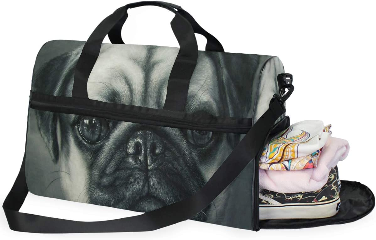 Pug Painting Gym Bag with Shoes Compartment Sports Swim Travel Overnight Duffels
