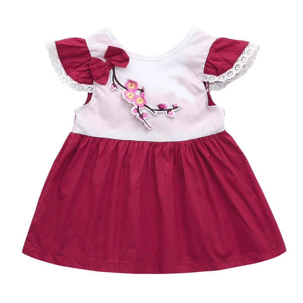 Kid Toddler Floral Embroidery Lace Pachwork Formal Dress Sundress One Piece Clothing Franterd Baby Girls Bowknot Dress