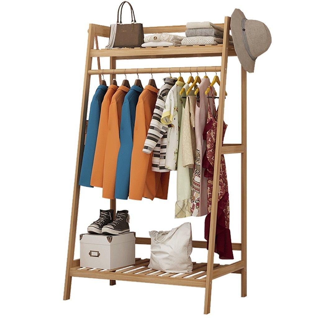 ZXYMJ Kleiderhaken Bambus Garderobenständer Kleiderständer Schuhablage Kleiderstange Rollen Kleiderstang Nivellierfüße (größe   100cm)