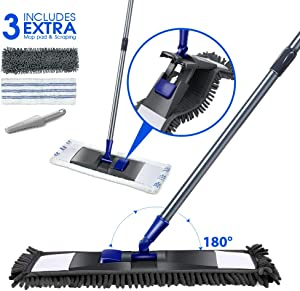 Microfiber Flat Mop with 2PCS Replaceable Mop Pads Stainless Steel Handle Magic Dust Cleaning Mop for Hardwood Floors Masthome