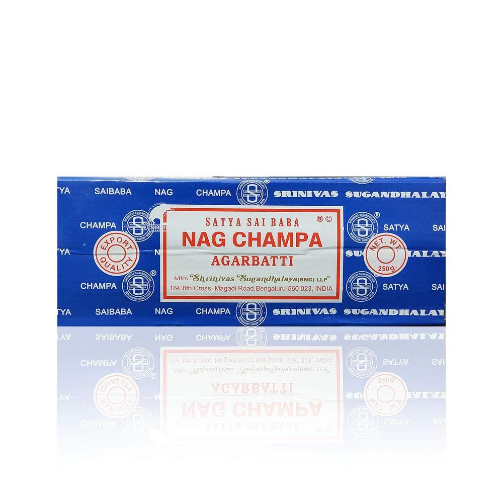 Satya Sai Baba Nag Champa Agarbatti Incense Sticks Box 250gms Hand Rolled Agarbatti Fine Quality Incense Sticks for Purification, Relaxation, Positivity, Yoga, Meditation