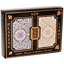 KEM Arrow Poker Size Playing Cards: Black and Gold, Wide Jumbo Index (1-Pack of 2)