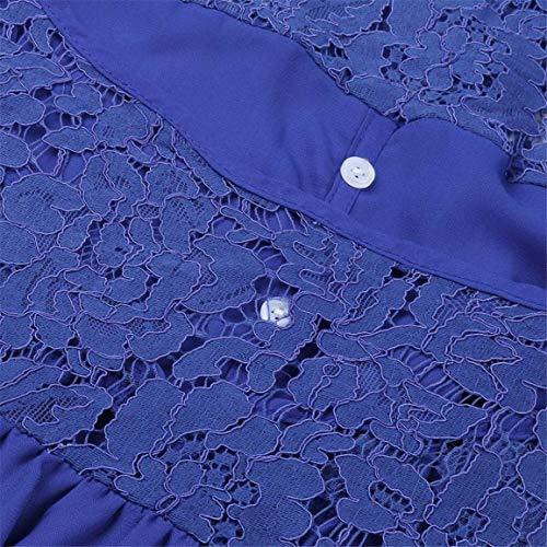 lgants v en Taille Dentelle Femmes t S Chemisier Chemises Mousseline Soie Trois 2XL Cou Bellelove en Quarts vtements de Dames lache Bleu Chemises Hauts 4HPn5qSqRx