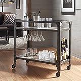 Metropolitan Charcoal Grey Industrial Metal Mobile Bar Cart with Wood Shelves