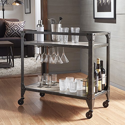Metropolitan Charcoal Grey Industrial Metal Mobile Bar Cart with Wood Shelves