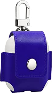 Mosiso AirPods Case, Portable Premium PU Leather Flip Cover with Metal Closure Buckle Case Anti-lost Protective Bag Pouch for AirPods with Charging Case, Blue