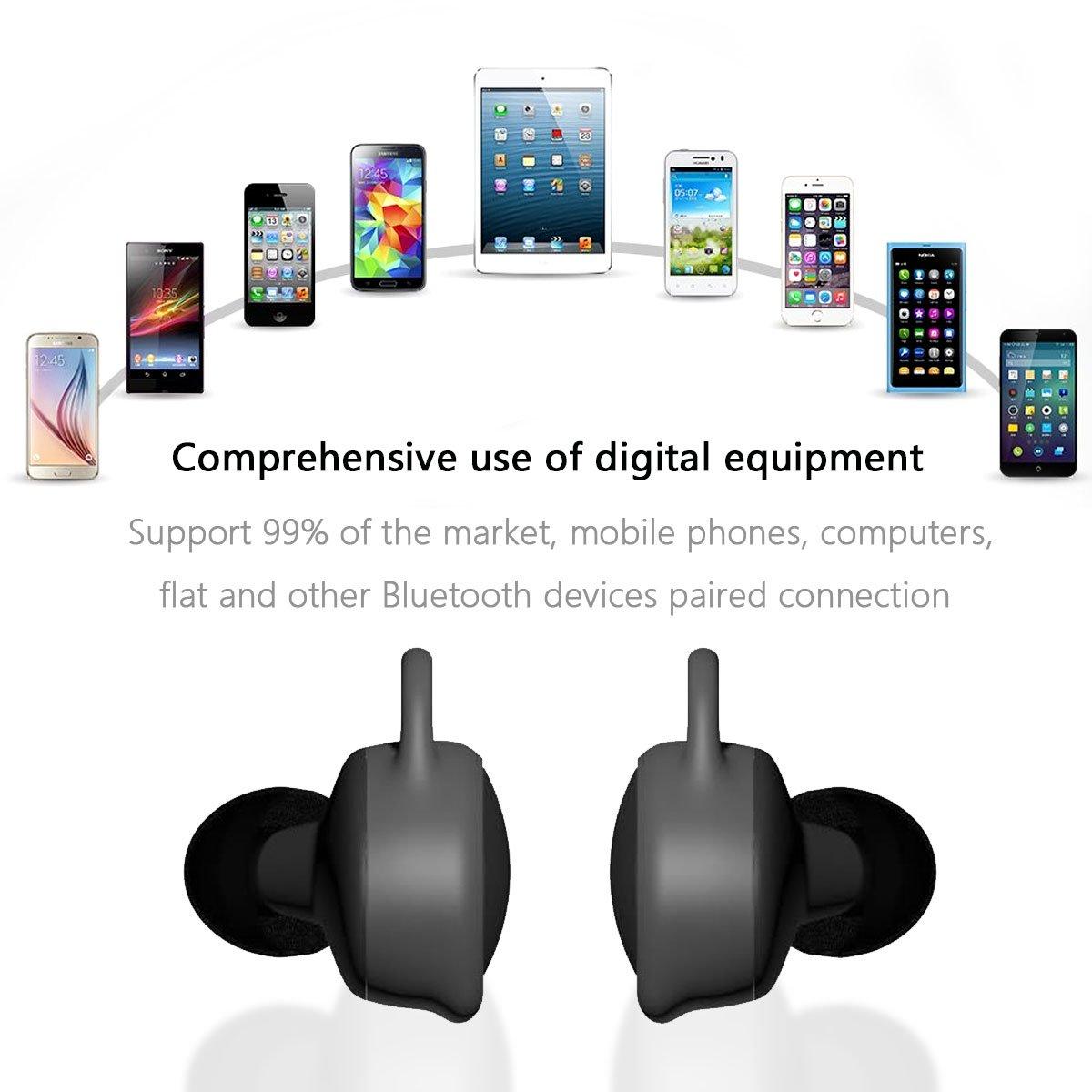 Auriculares Bluetooth, Kissral® Un Par de Mini Auriculares Bluetooth Estéreo Invisible Inalámbrico Auriculares In-ear Manos Libres con Caja de carga ...