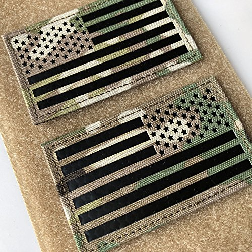 "2x3.5"" Multicam Infrared IR US USA American Flag Patch Tacti"