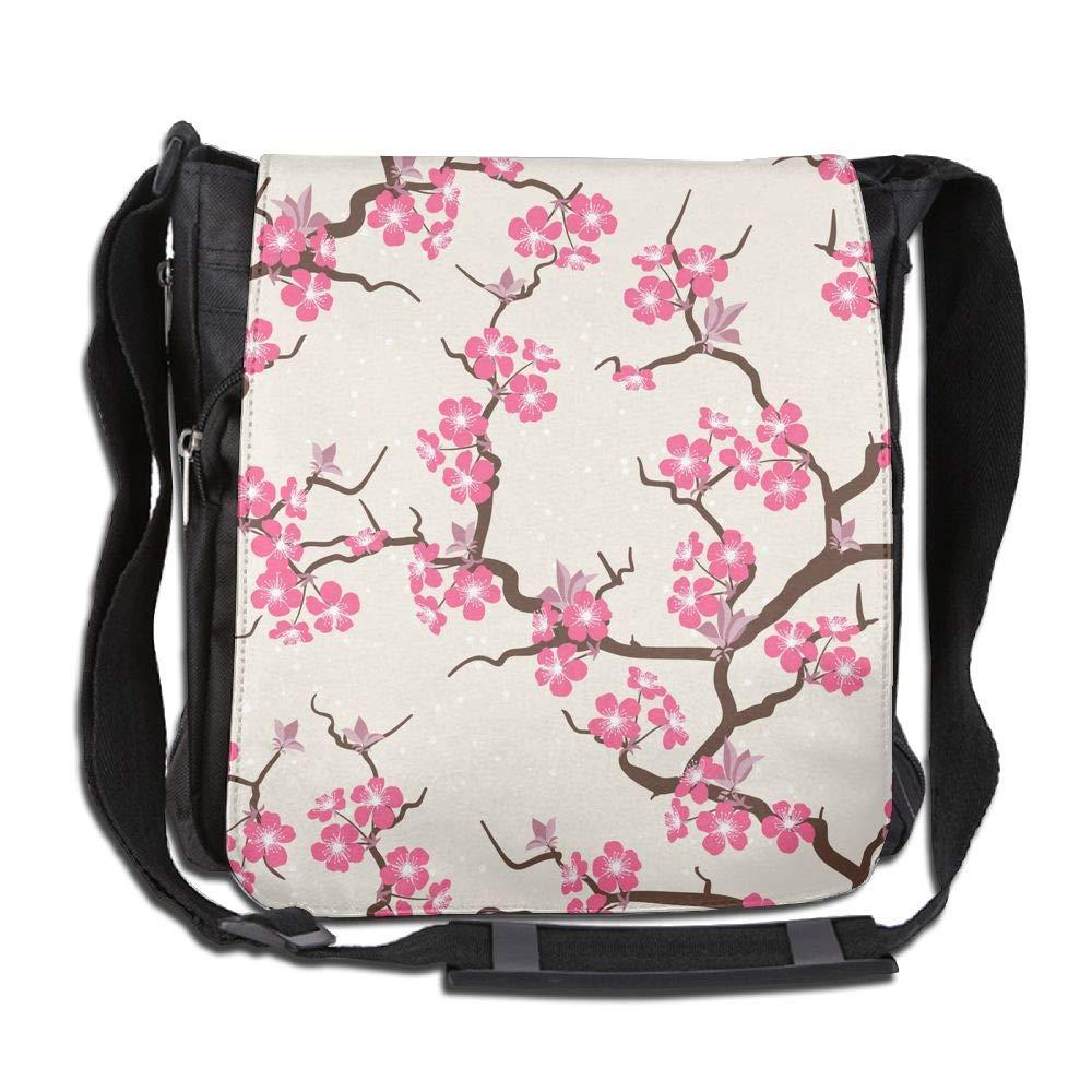 SARA NELL Messenger Bag,Japanese Cherry Blossoms,Unisex Shoulder Backpack Cross-body Sling Bag