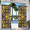 BlountDecor Oriental Patio Curtains Middle Orient Eastern Ethnic Design Different Floral Swirl Detailed Image Artwork Outdoor Curtain for Patio,Outdoor Patio Curtains W108 x L84 Multicolor