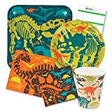 Dinosaur Birthday Party Supplies Pack for 16 people Includes: Large 9 Square Plates, dessert plates, lunch and beverage napkins and paper cups